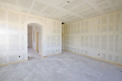 Picture of new drywall job